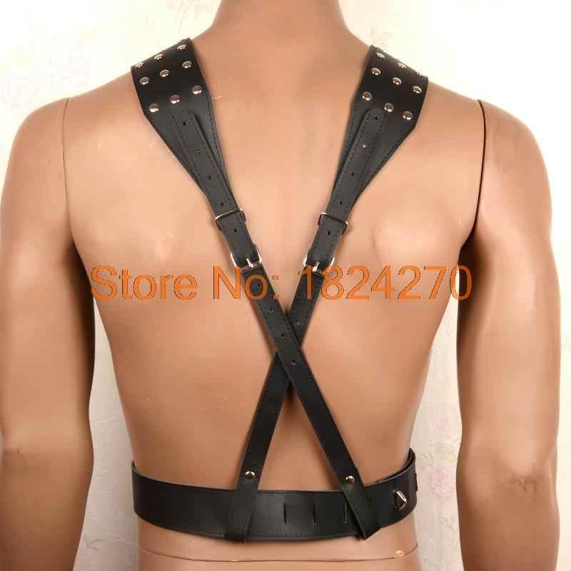 Sexy pu da nam body harness bondage restraints catsuit với dương vật rings sexy lingerie fetish mặc cho người đàn ông trang phục erotic