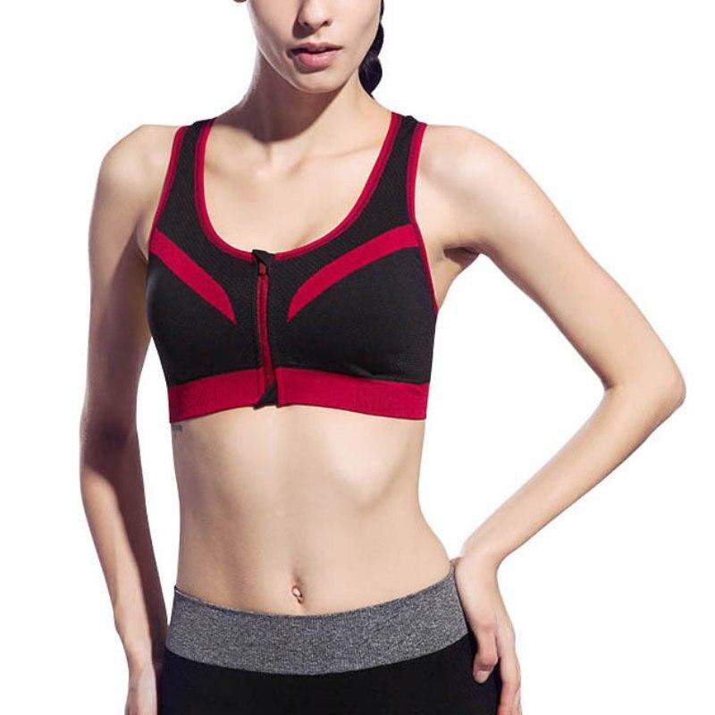 Women Bras Fitness Vest Crop Tops Workout Racerback Front Zipper No Rims Seamless Stretch PaddedBra LM57