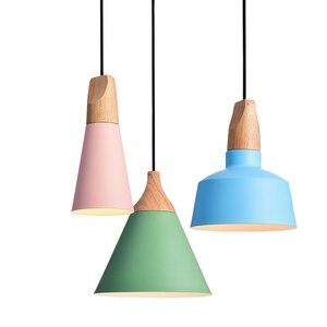 Image 4 - Eğim lambaları kolye ışıkları ahşap ve alüminyum restoran Bar kahve yemek odası oturma odası dekorasyon LED asılı aydınlatma armatürü