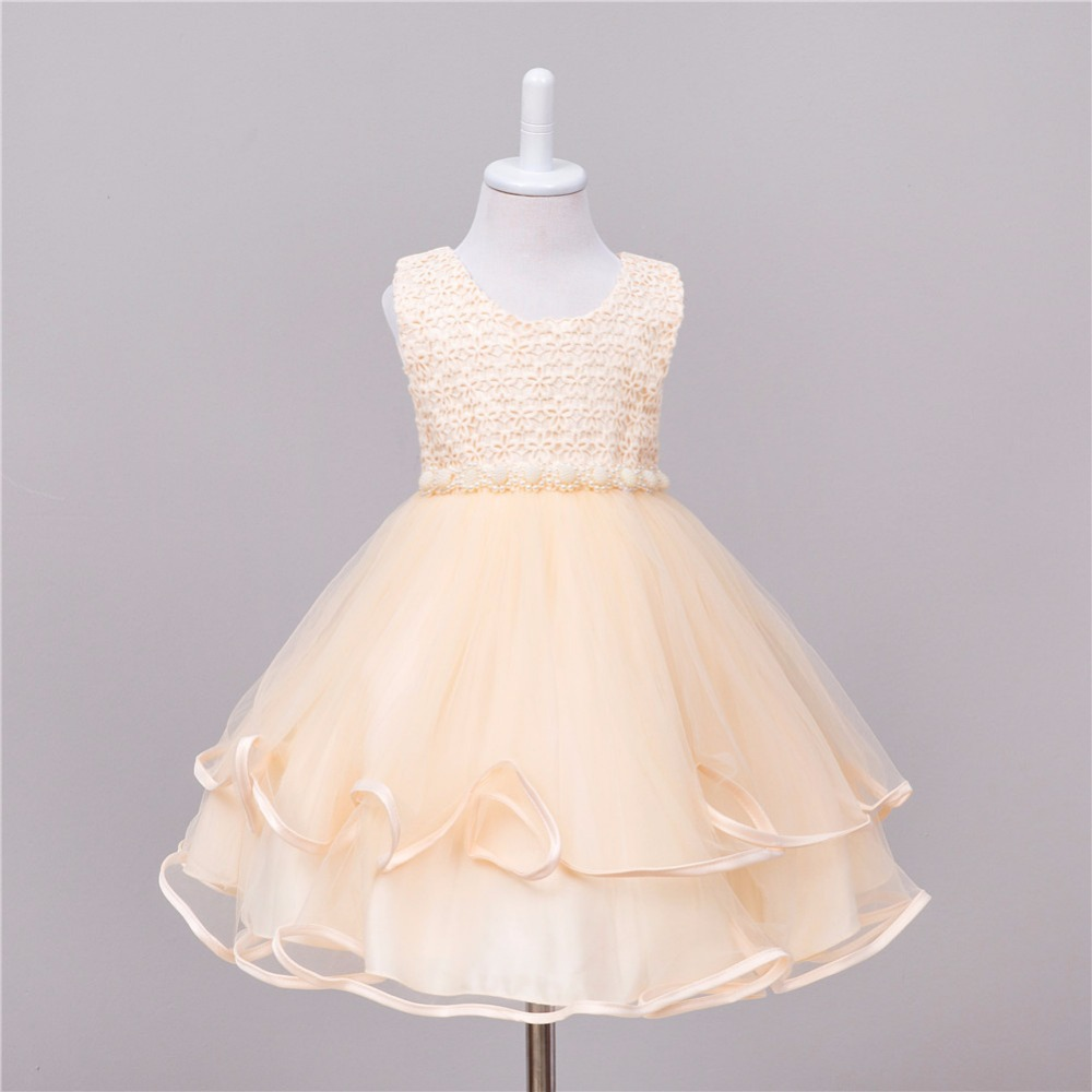 2017 New Champagne color Girl Dress Wedding Princess Tutu Kids Party Prom Dresses for Teenage Sleeveless
