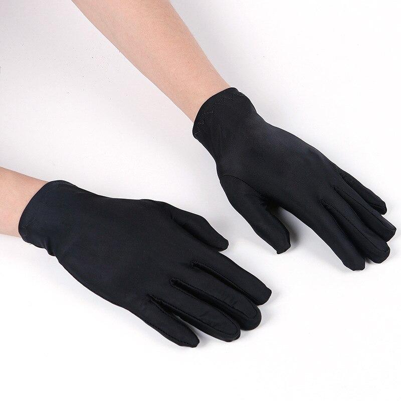 1Pair Spring Summer Spandex Gloves Women Black White Etiquette Thin Stretch Gloves Dance Tight White Jewelry Gloves