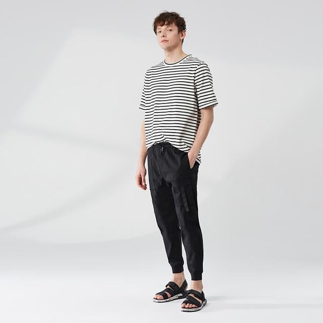MARKLESS hombres suelto informal a rayas Micro-elástico camisetas de moda de manga corta Camisetas cuello redondo TXA9651M