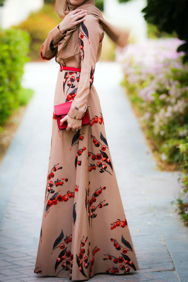 Cherry Long Sleeve Dress Dubai Style