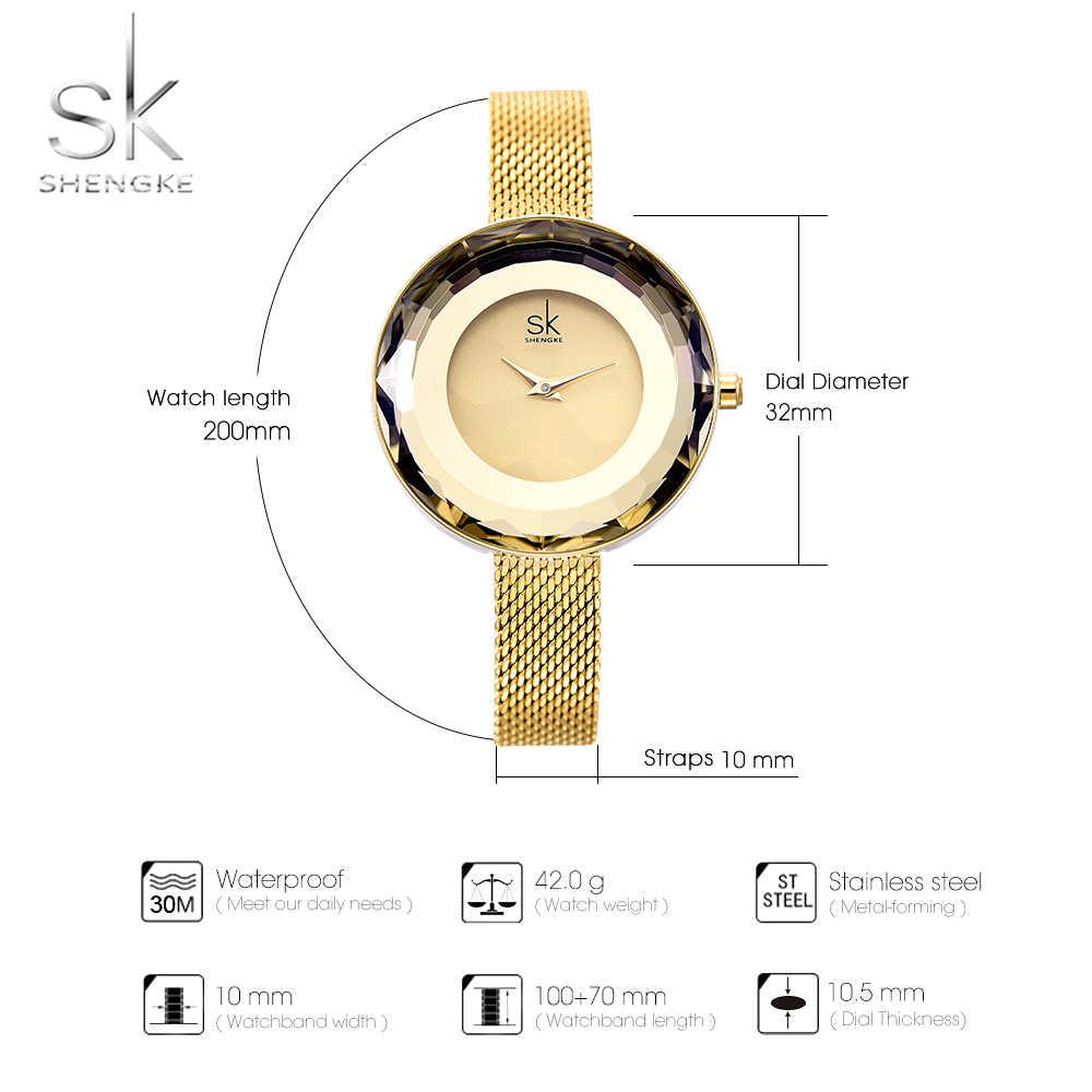 Shengke אופנה יוקרה גבירותיי שעון פריזמה Fac זהב פלדת רשת קוורץ נשים שעונים למעלה מותג שעון Relogio Feminino