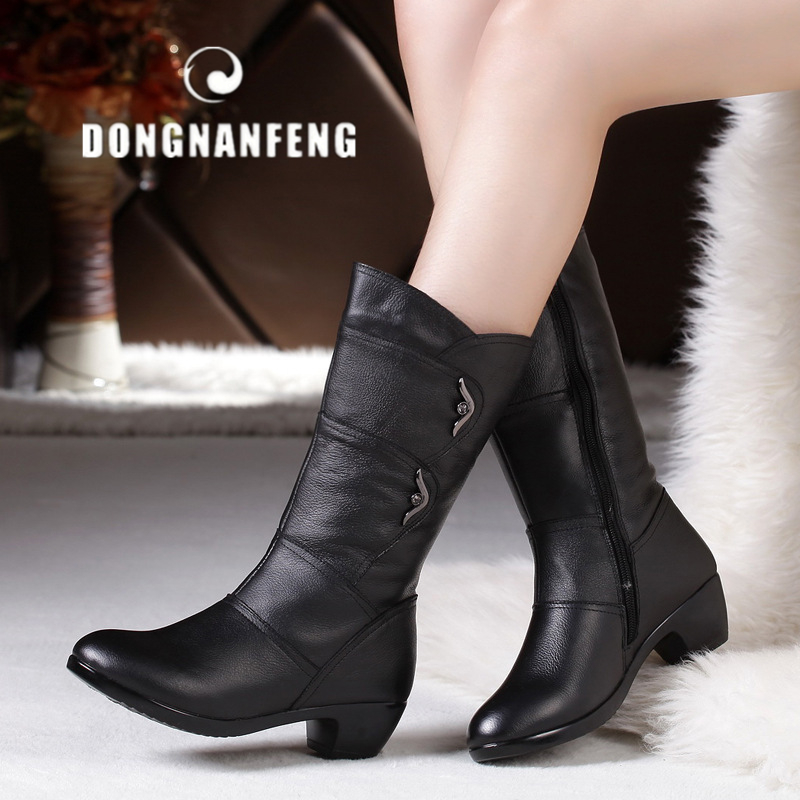 DONGNANFENG Women Mother Female Ladies Shoes Boots Zip Winter Warm Plush Fur Cow Genuine Leather Mid