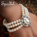 Special  New Fashion Vintage Charm Bracelets Pearl Ceramic Bead Strand Wedding Chunky Bracelet Bridal Gifts for Women  SL141111