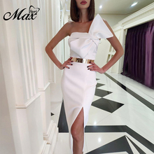 Max Spri 2019 Summer New Fashion Strapless Sleeveless Bow Details Split With Sashes Midi Women Party Dress Hot White