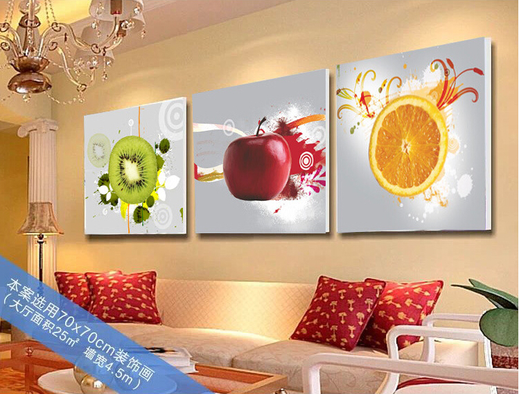 3 Piece Mur Art Decoratif Photo Fruit Apple Orange Imprime Peinture