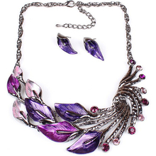 Women Peacock Shape Necklace Earring Set Crystal Rhinestone Jewelry Set