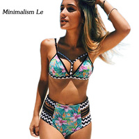 Minimalism Le Sexy Halter Top Bikini 2017 New Sexy High Waist Print Swimwear Swimsuit Push Up