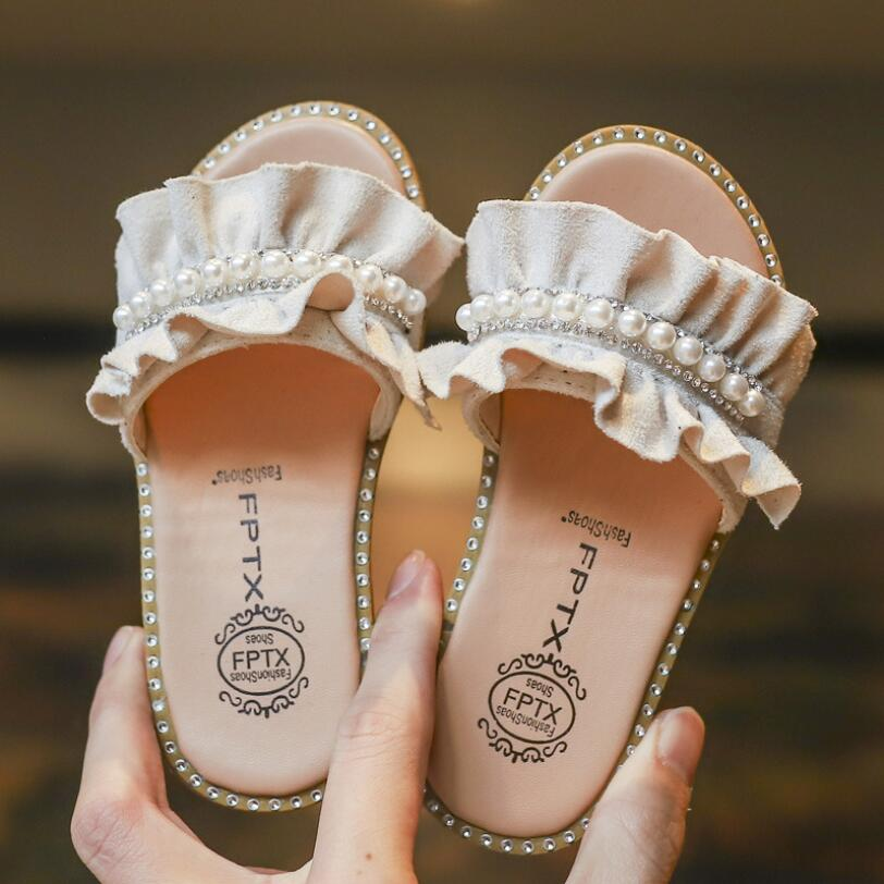 New Summer Pearl Children's Sandals Girls Sandals Slippers Princess Sandal Fashion Baby Home Shoes