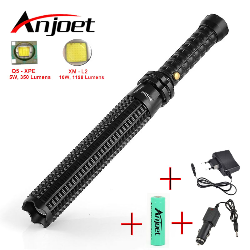Anjoet Baseball Bat Mace Shaped XML L2 LED Flashlight Zoomable for Security and Self Defense Ultra Bright Baton Torch Ass-Kicker usb led flashlight torch 26650 rechargeable xml l2 red green blue led light flashlight led torch ultra bright self defense
