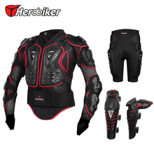 Motorcycle Riding Body Armor Protection Jacket + Motorcross Off-Road Racing Protector Hip Pads Shorts + Knee Pad Gear Guards