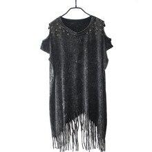 Летняя Модная брендовая футболка с коротким рукавом, топы, женские футболки в европейском и американском стиле, рок-панк, Уличная Повседневная Женская свободная футболка с кисточками