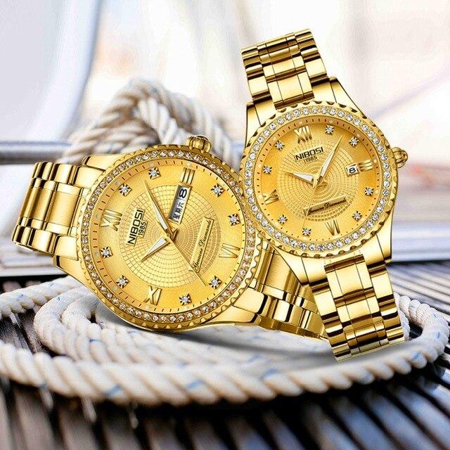 Luxury Gold Quartz Couples Wristwatch Set