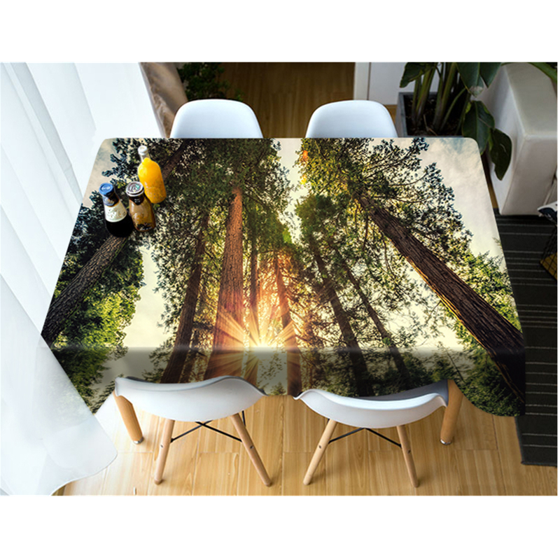 3D Tablecloth Outdoor Scenery Sunshine and Trees Pattern Washable Cotton Cloth Thicken Rectangular and Round Wedding Table Cloth