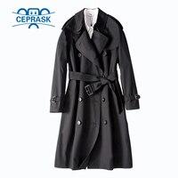 2018 весна осень повседневные пальто для женщин бренд плюс размер двубортные европейские Длинные Двойные куртки-ветровки горячая распродажа
