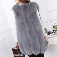 The whole new furry fox fur vest water drops in the female long section of the leather vest Slim was thin coat