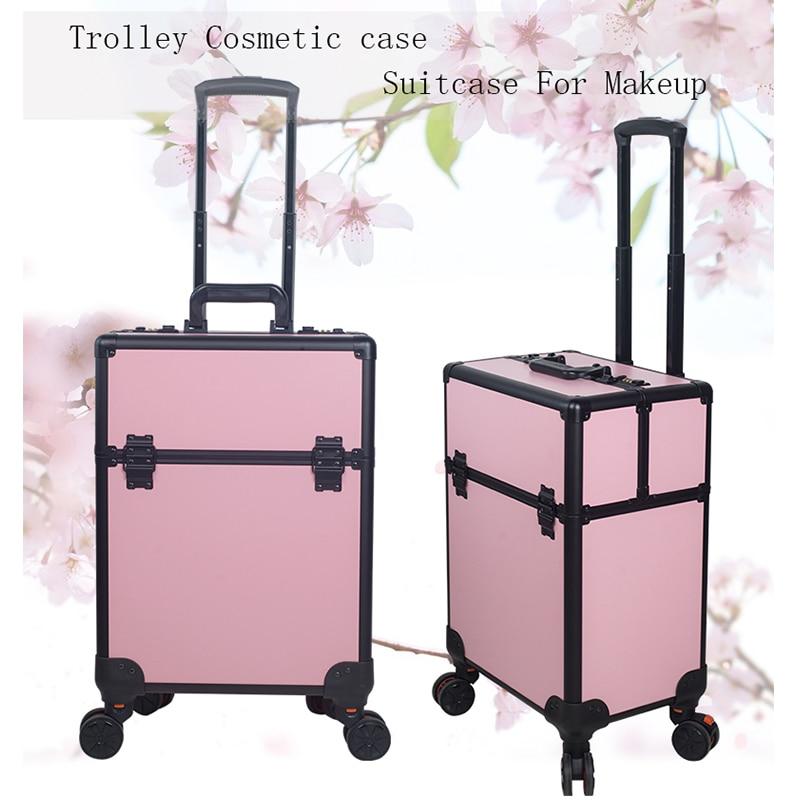 Women fashion multi layer large capacity cosmetic case Box Nail tattoo Rolling bag makeup case multi