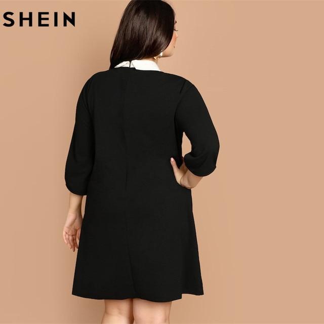 SHEIN Plus Size Tie Neck Peter Pan Collar Preppy Style Women Black Straight Dress 2019 Spring Three Quarter Sleeve Dresses 1