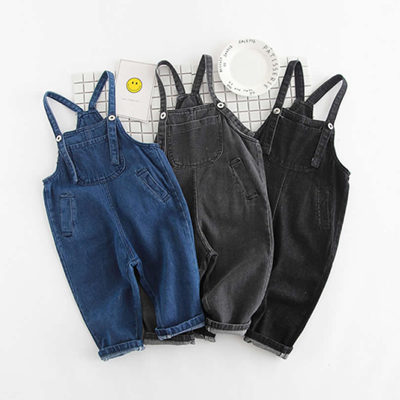 Baby Boys Girls Jeans Overalls Toddler Kids Denim Rompers Cute Cartoon Bebe Jumpsuit Long Children Pants Clothes