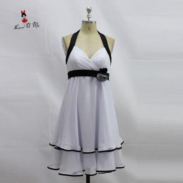 Vestidos dama de honor blanco y negro