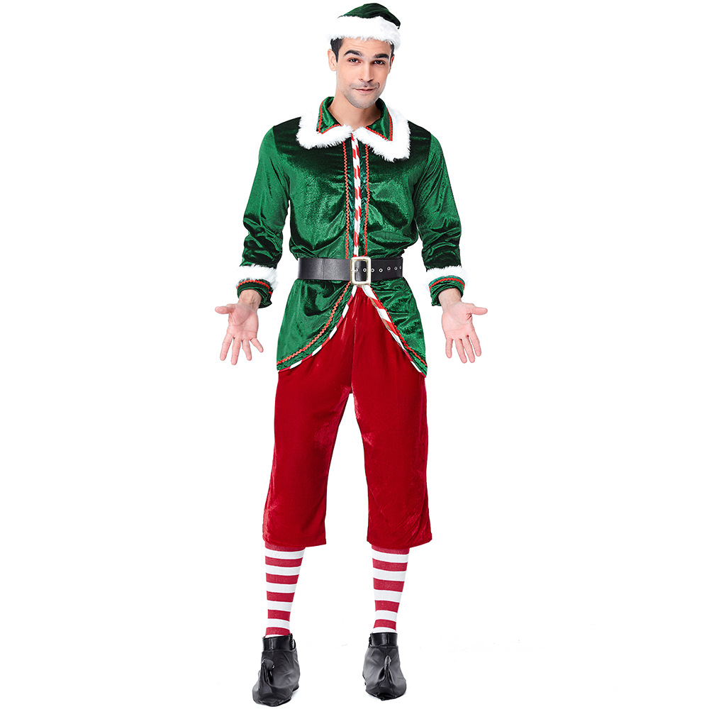 Velvet Red Green Spirit of Christmas Elves Costumes Cosplay Suit For Man Christmas Party Cosplay