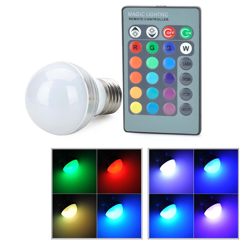 HOT 1Pcs E27 LED RGB Bulb Lamp AC110V 220V 3W LED RGB Spot Light Dimmable Magic Holiday RGB Lighting+IR Remote Control 16 Colors