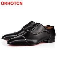Sheepskin Men Oxford Shoes Square Toe Shoes Men Offici Rivet Patchwork Italian Men Shoes Black Spring Autumn Men Office Shoes