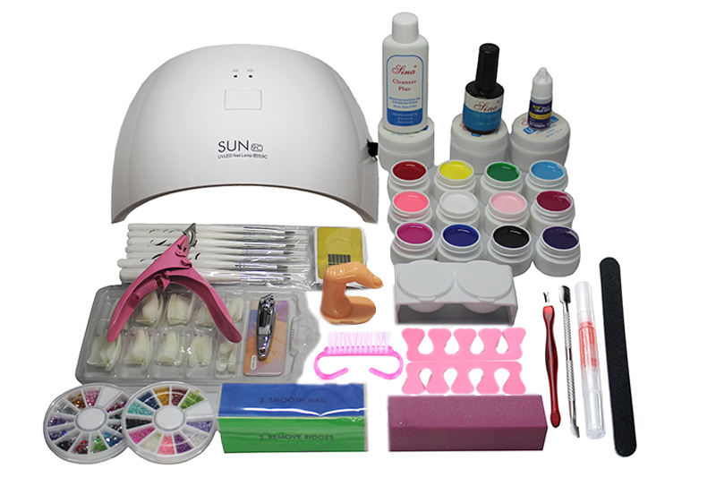 Pro 24w uv Nail lamp manicure set Nail Art UV Gel Kits sets Tools Brush Tips Glue Acrylic Powder Set #N309