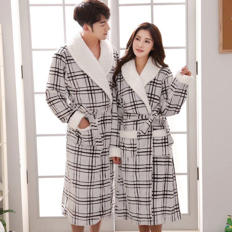 Flannel Plaid Couples Bathrobes Winter Thickening Pajamas Lounges Sleepwear Female Bathroom Kimono Robe Peignoir G081701