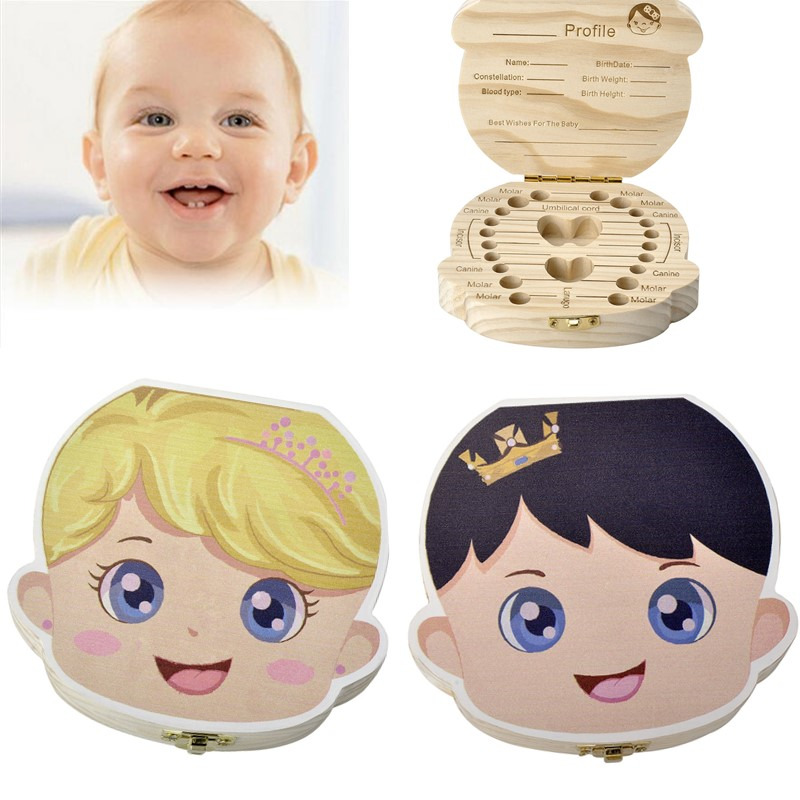 Sunligoo English Baby Milk Teeth Box Organizer Save Wood Storage Great Gifts 3-6YEARS Creative Princess Prince Version For Kids