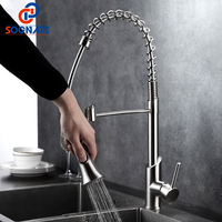 Spring Kitchen Faucet Pull Out Brushed Nickel Brass Kitchen Water Taps All Around Rotate Swivel Hot