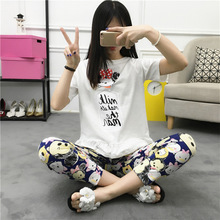 New Arrival! Top Women's Sleepwear Twinset Short sleeves Long Pants Pajamas Faux Cotton Lady's Lounge Home Clothing Set(China)