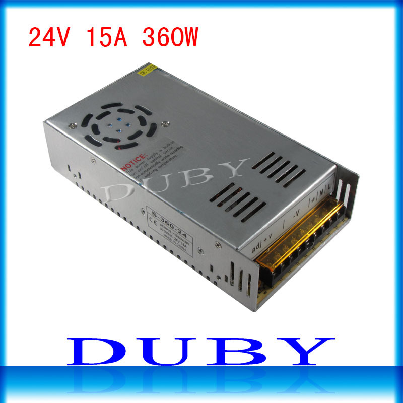 50piece/lot 24V 15A 360W Switching power supply Driver For LED Light Strip Display AC100-240V  Factory Supplier  Free Fedex ac 85v 265v to 20 38v 600ma power supply driver adapter for led light lamp