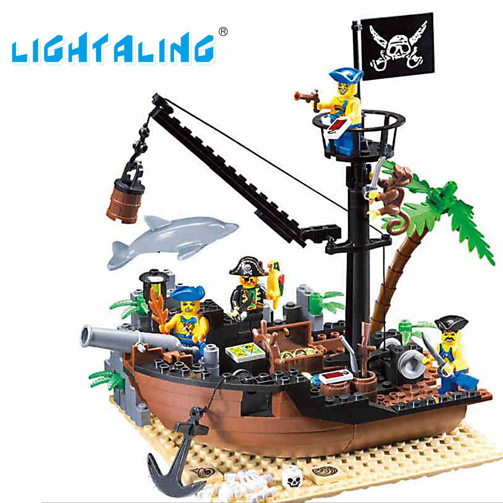 Lightaling Toy Pirate Ship Warship Boat Building Blocks Educational Model Bricks Christmas Gift Children susengo pirate model toy pirate ship 857pcs building block large vessels figures kids children gift compatible with lepin