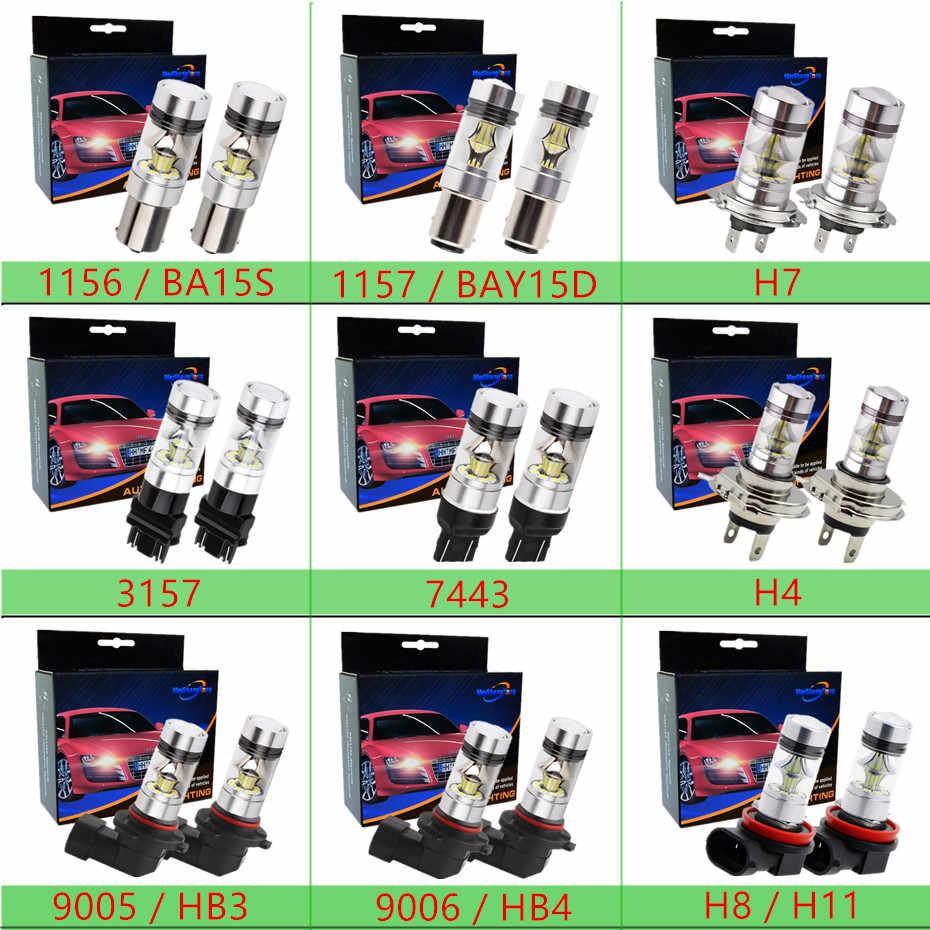 רכב הנורה Cree LED שבבי 360 תואר אור H1 H4 H7 H8 H11 9005 HB3 9006 HB4 3157 7443 1156 BA15S 1157 BAY15D 12 v ~ 24 v 100 w
