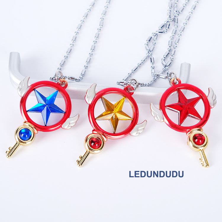 Costume Accessories Anime Card Captor Sakura Cosplay Accessories Set Birdhead Star Magic Wand Stick Props Collection Necklace Pendants Keychains