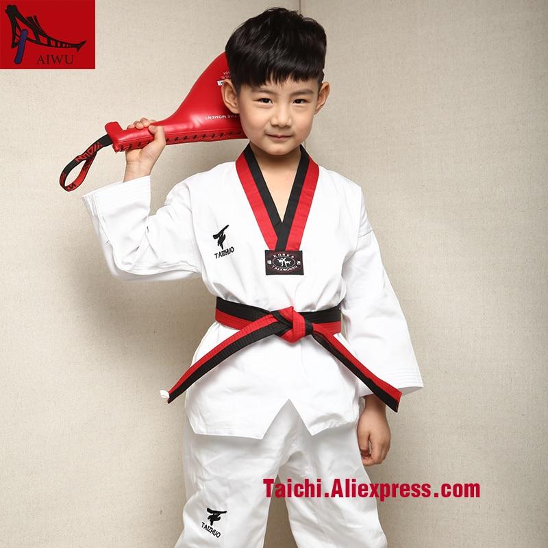 Children Cotton Taekwondo Uniform Children Long Sleeve  Tae Kwon Do Do Boks Clothes TKD
