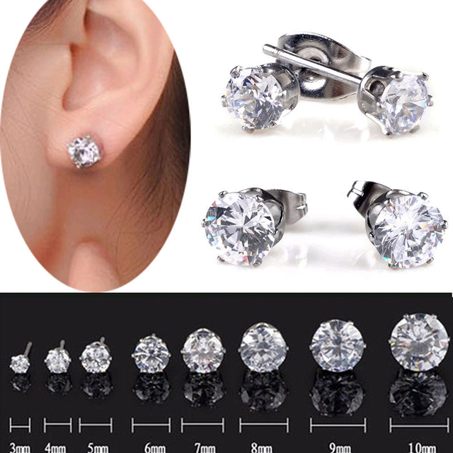 1pair Mens Crystal Diamante Earrings Stainless Steel Clear Ear Studs 3mm 10mm Punk