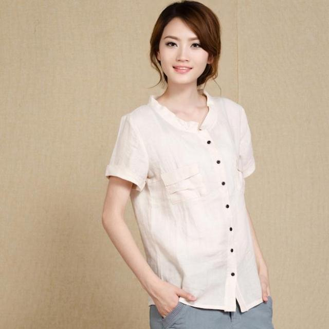 885a0cccf Blusas Feminina Blouse Real Women Blouses Summer Large Size Ramie Linen  Short-sleeved Shirt Loose