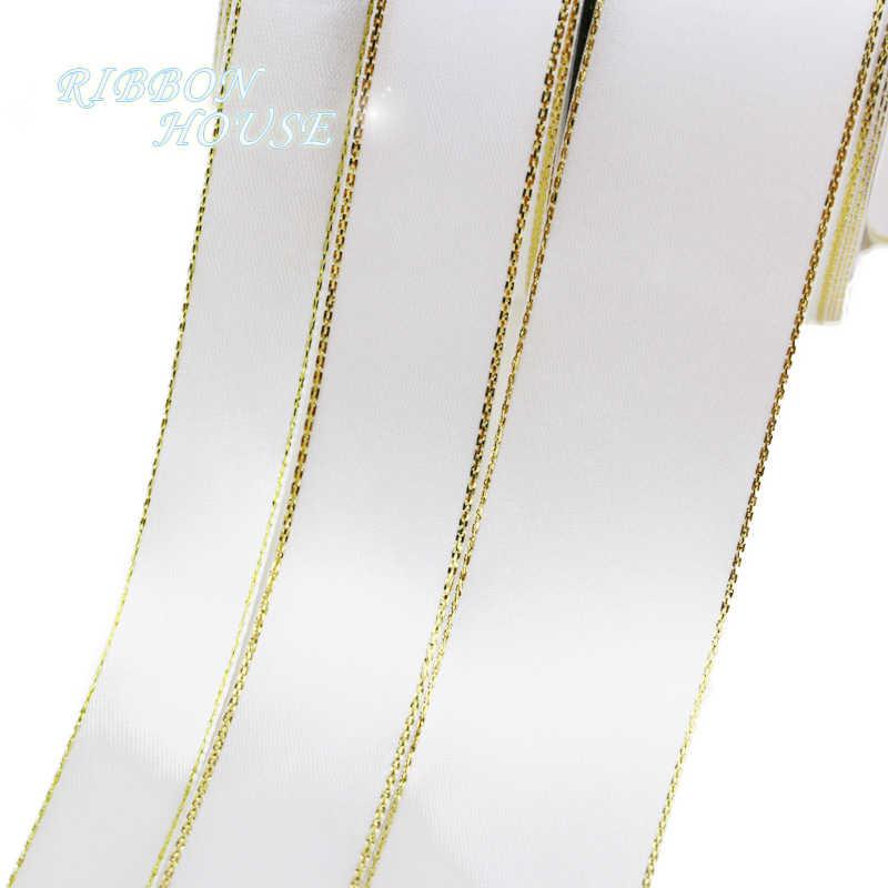 (25 מטר/הרבה) 20mm לבן סאטן סרט זהב קצה סיטונאי אריזת מתנת באיכות גבוהה