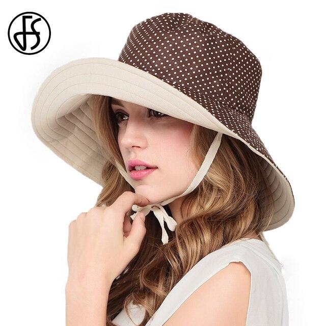 Summer Hats For Women Part - 48: FS Summer Hat For Women Reversible Polka Dot Beige Black Sun Hats Ladies  Wide Brim Beach