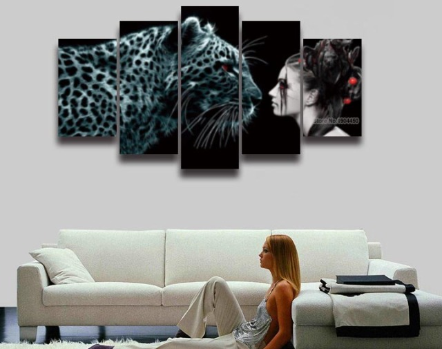 Leopard Decor For Living Room Paint Schemes 5 Pieces Printed Woman Picture Painting On Canvas Wall Art Home Decoration Print Poster Artistic Artwork
