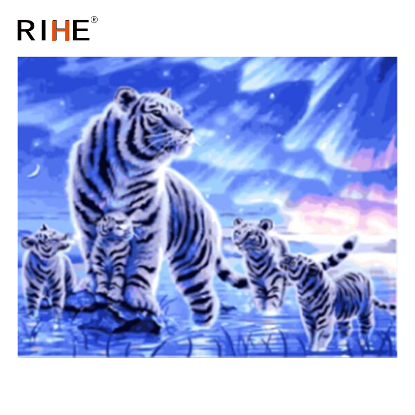 RIHE Tiger Family Diy Painting By Numbers Animal Oil On Canvas Hand Painted Cuadros Decoracion Acrylic Paint 40X50CM