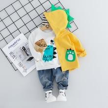 ילד תינוק ילד סטי בגדי קריקטורה מעיל 3PCS אופנה פעוט בנות תינוק חליפת מעיל + T חולצה + מכנסיים 1   4 Y
