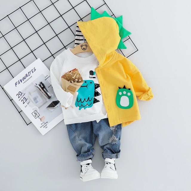 Kind Baby Jungen Kleidung Sets Cartoon Mantel 3PCS Mode Kleinkind Mädchen Baby Anzug für Jungen Mantel + t shirt + hosen 1   4 Y
