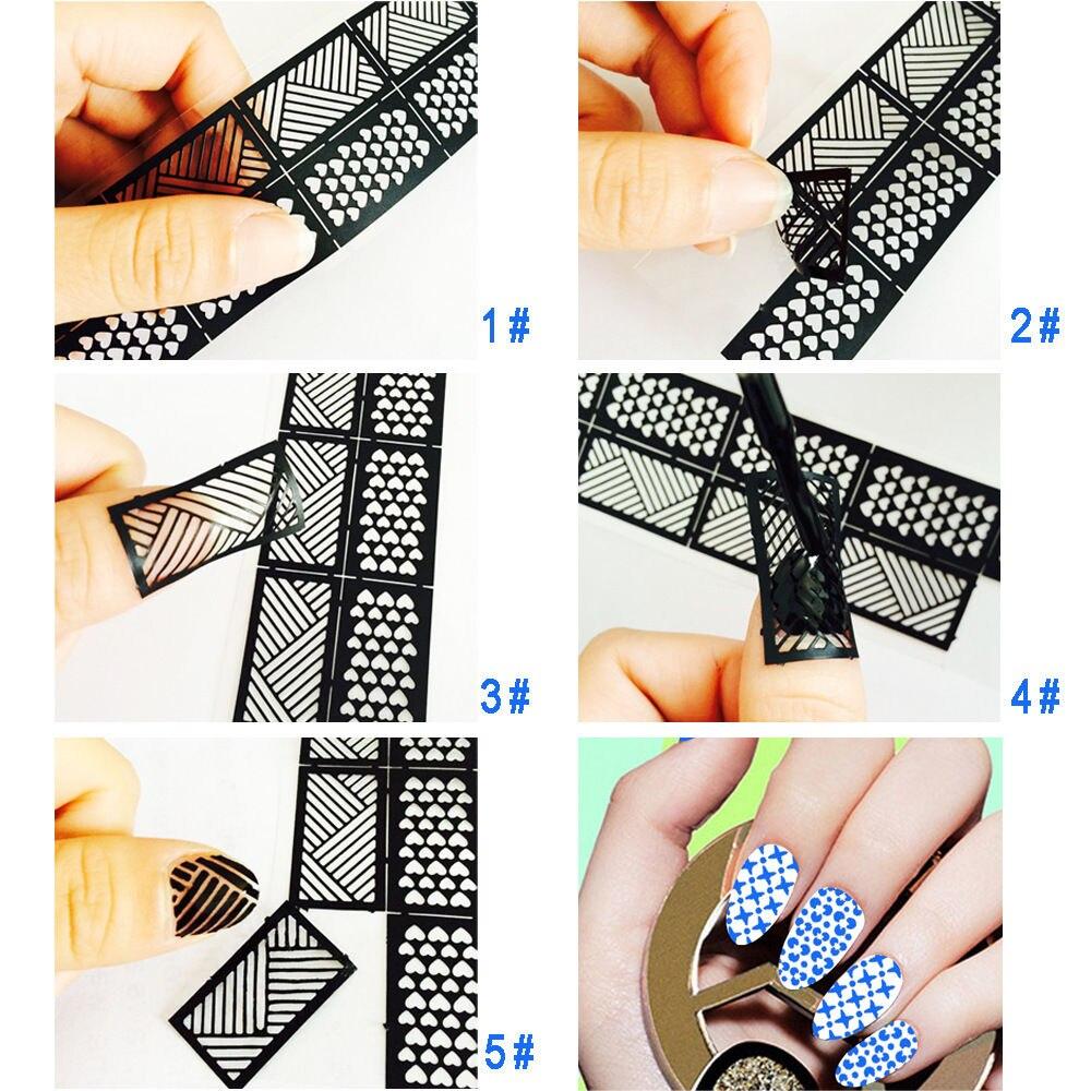 Nueva fácil uso Manicura estampado plantilla stencils sello guía ...