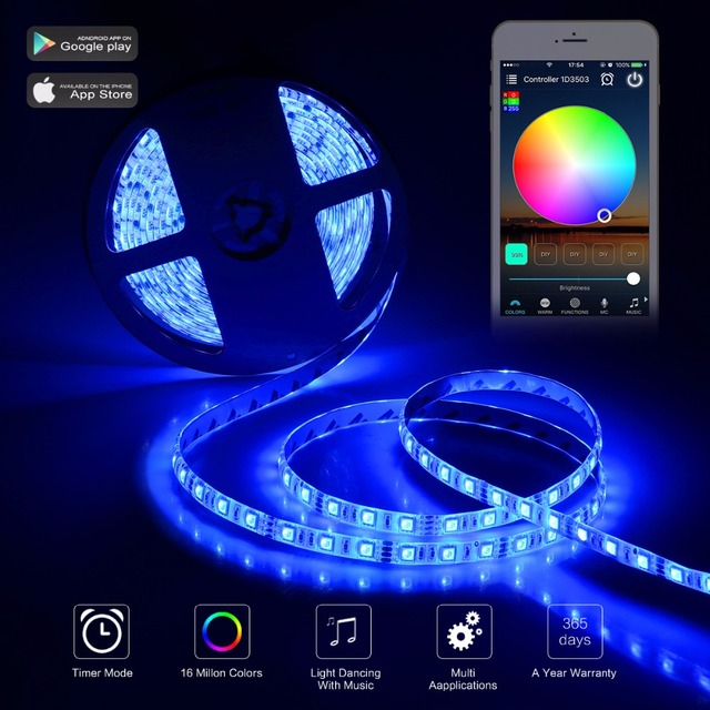 b4d5dc0728d6 Wifi RGB LED Strip Light Kit 5m SMD5050 waterproof IP65 Led Strip+WiFi  Controller+ Adapter for Alexa for Android for IOS phone