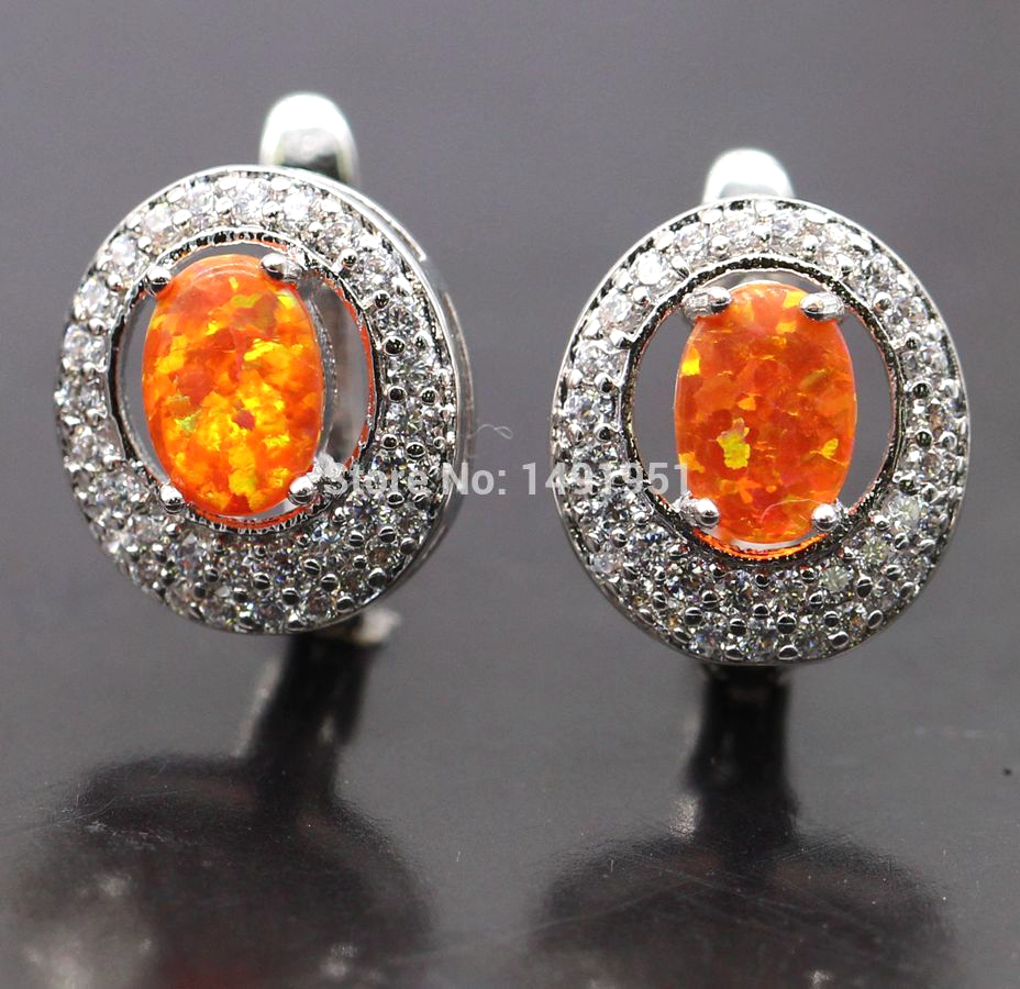Aliexpress Jinyao Luxury White Gold Color Fire Opal Earrings With Zircon Stone For Women Birthday Gift Bijouterie 6colors From Reliable